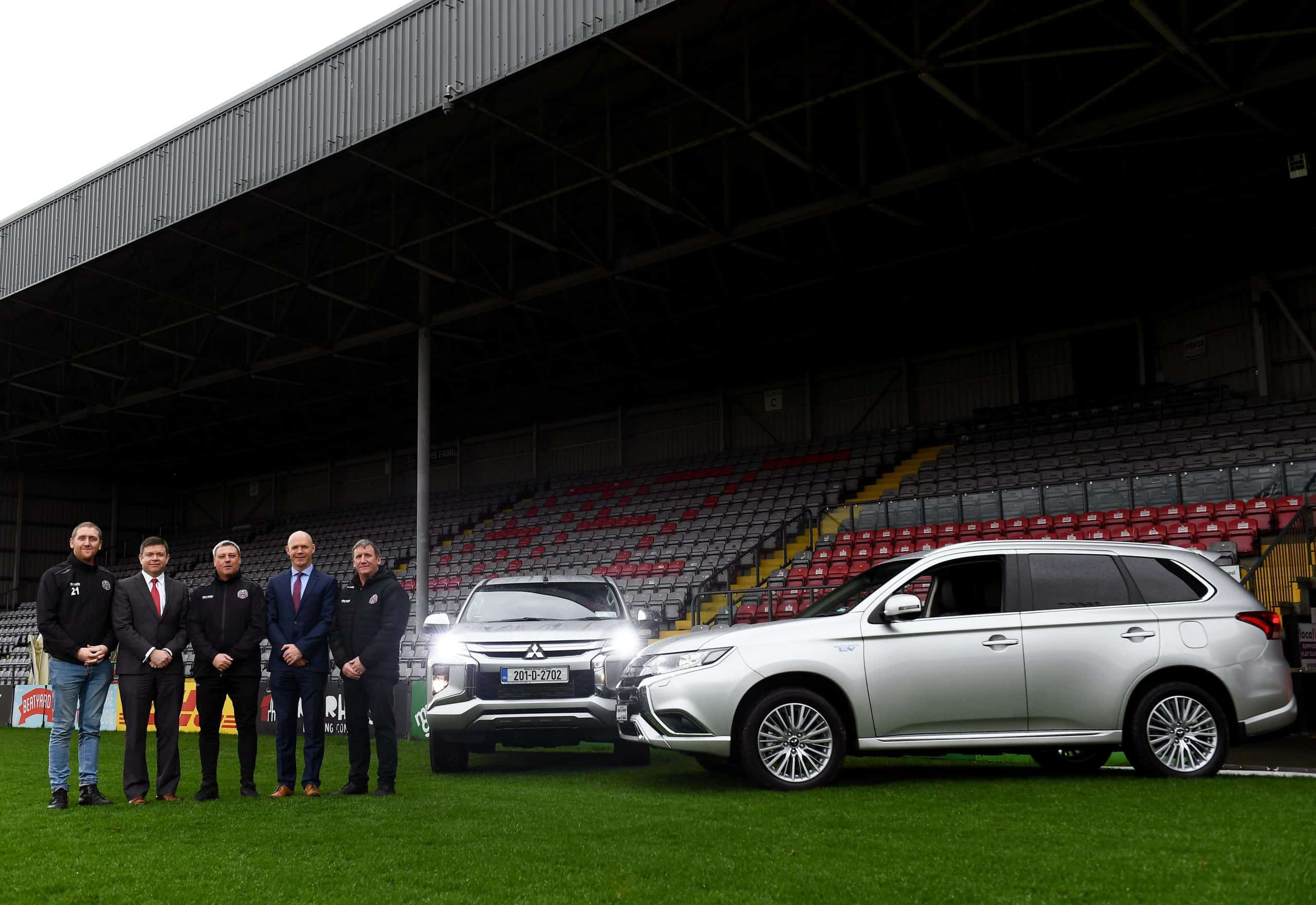 Bohemian FC take delivery of their new Mitsubishi Outlander PHEV kit car as Mitsubishi Motors are announced as the clubs official vehicle partner. Pictured are, from left, Daniel Lambert, Director Bohemian FC, Gerard Rice, Managing Director Mitsubishi Motors, Bohemian FC manager Keith Long, Mark Clarke, Dealer Principle Westbrook Motors and Stephen Lambert, Secretary Bohemian FC, at Dalymount Park in Dublin.